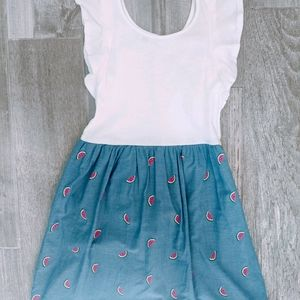 Gap Watermelon Ruffle Sleeve Dress